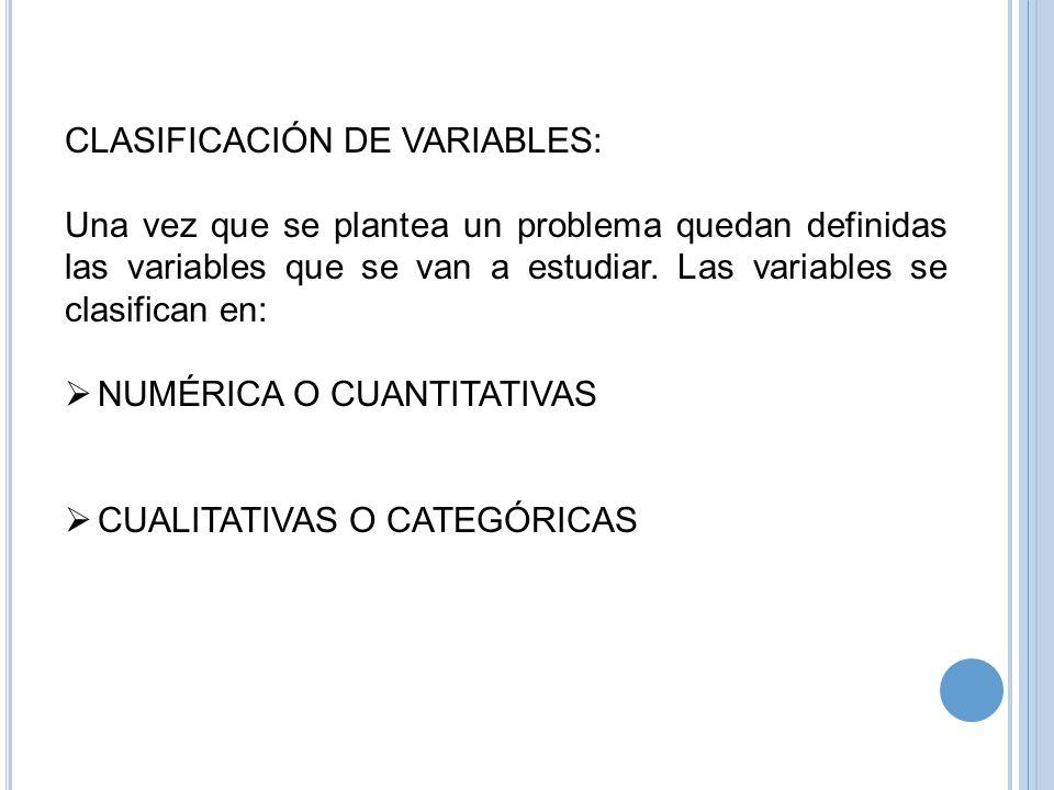 CLASIFICACIÓN DE VARIABLES: Una vez que se plantea un problema quedan definidas las variables que se van a estudiar. Las variables se clasifican en: N