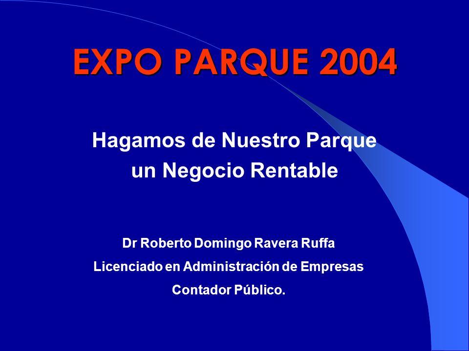 EXPO PARQUE 2004 Hagamos de Nuestro Parque un Negocio Rentable Dr Roberto Domingo Ravera Ruffa Licenciado en Administración de Empresas Contador Públi