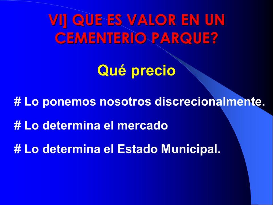 VI] QUE ES VALOR EN UN CEMENTERIO PARQUE? Qué precio # Lo ponemos nosotros discrecionalmente. # Lo determina el mercado # Lo determina el Estado Munic