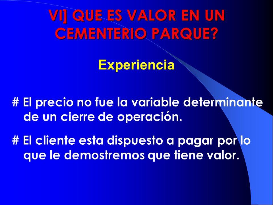 Experiencia VI] QUE ES VALOR EN UN CEMENTERIO PARQUE? # El precio no fue la variable determinante de un cierre de operación. # El cliente esta dispues