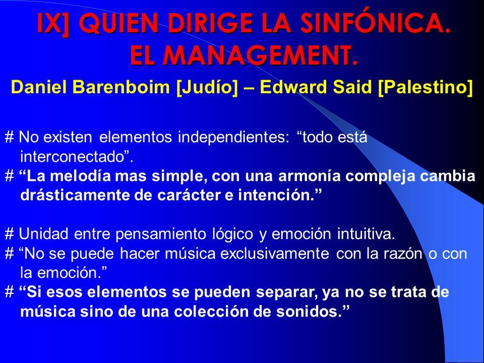 IX] QUIEN DIRIGE LA SINFÓNICA. EL MANAGEMENT. Daniel Barenboim [Judío] – Edward Said [Palestino] # No existen elementos independientes: todo está inte