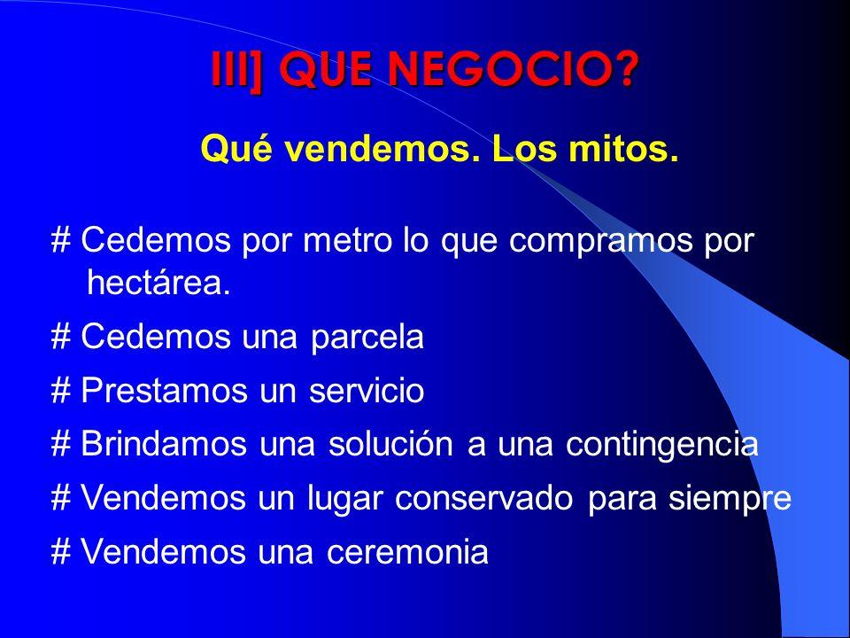 III] QUE NEGOCIO? # Cedemos por metro lo que compramos por hectárea. # Cedemos una parcela # Prestamos un servicio # Brindamos una solución a una cont