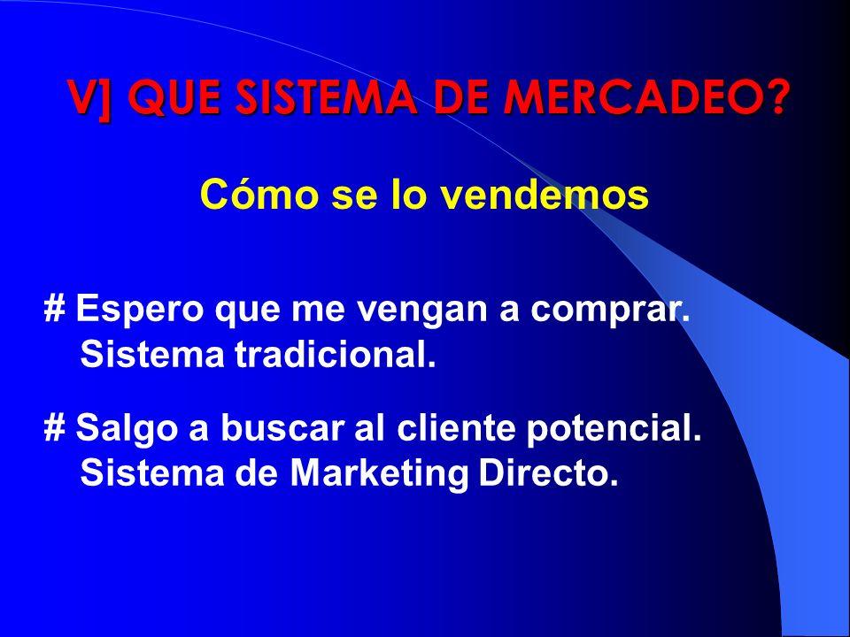 V] QUE SISTEMA DE MERCADEO? Cómo se lo vendemos # Espero que me vengan a comprar. Sistema tradicional. # Salgo a buscar al cliente potencial. Sistema