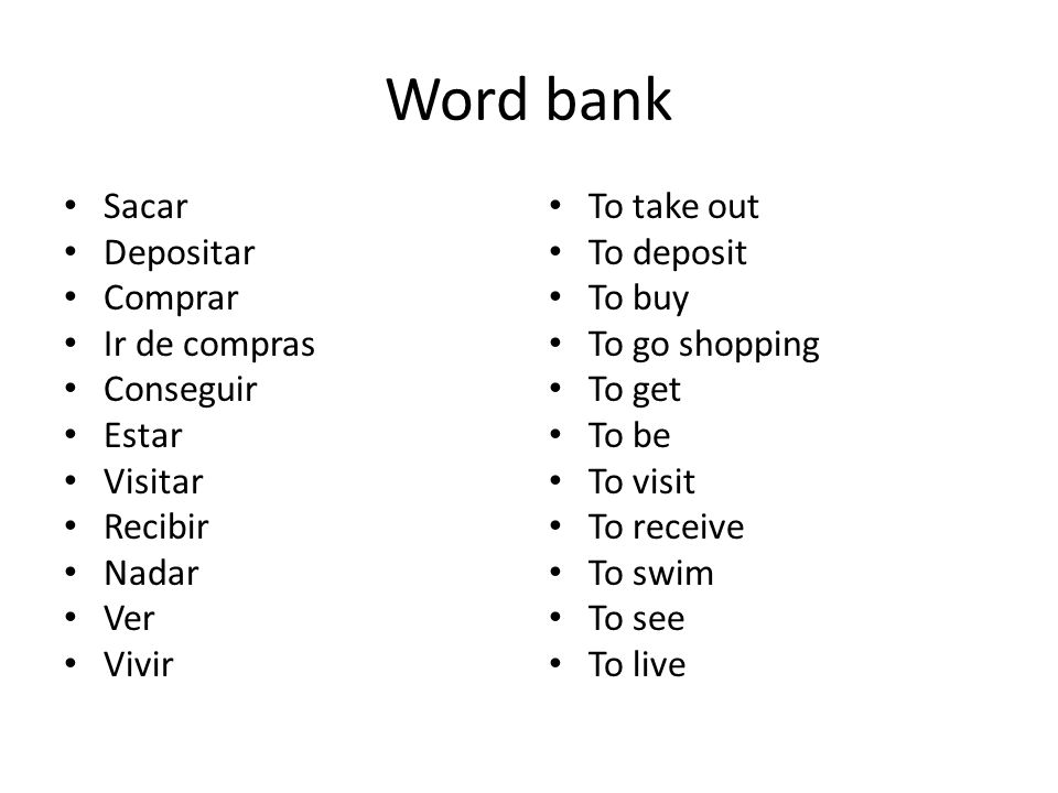 Word bank Sacar Depositar Comprar Ir de compras Conseguir Estar Visitar Recibir Nadar Ver Vivir To take out To deposit To buy To go shopping To get To be To visit To receive To swim To see To live