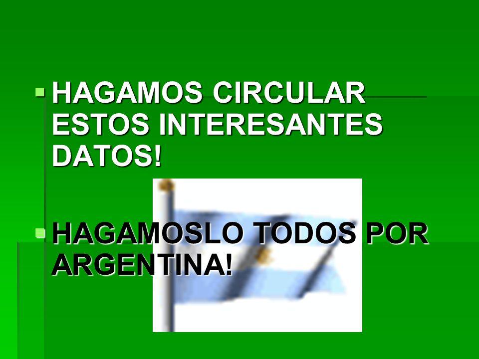 HAGAMOS CIRCULAR ESTOS INTERESANTES DATOS! HAGAMOS CIRCULAR ESTOS INTERESANTES DATOS! HAGAMOSLO TODOS POR ARGENTINA! HAGAMOSLO TODOS POR ARGENTINA!
