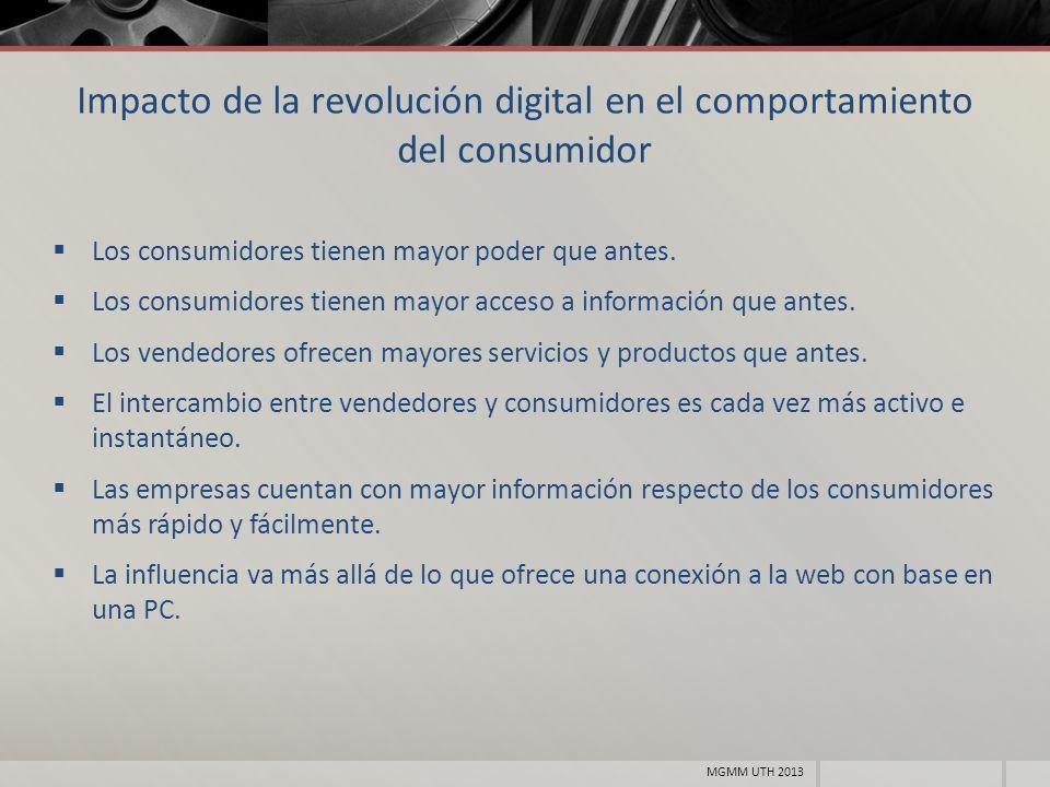 Impacto de la revolución digital en el comportamiento del consumidor Los consumidores tienen mayor poder que antes. Los consumidores tienen mayor acce