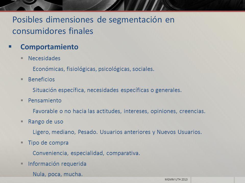 Posibles dimensiones de segmentación en consumidores finales Comportamiento Necesidades Económicas, fisiológicas, psicológicas, sociales. Beneficios S