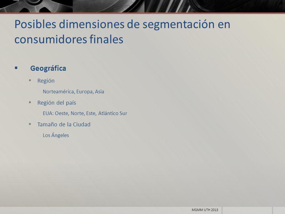 Posibles dimensiones de segmentación en consumidores finales Geográfica Región Norteamérica, Europa, Asia Región del país EUA: Oeste, Norte, Este, Atl