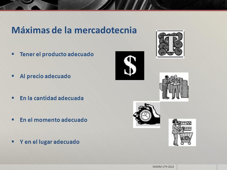 Máximas de la mercadotecnia Tener el producto adecuado Al precio adecuado En la cantidad adecuada En el momento adecuado Y en el lugar adecuado MGMM U