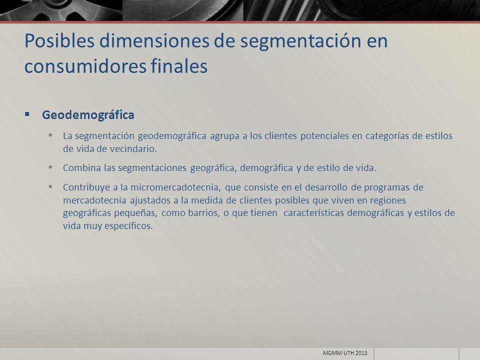 Posibles dimensiones de segmentación en consumidores finales Geodemográfica La segmentación geodemográfica agrupa a los clientes potenciales en catego