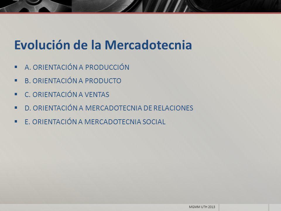 Evolución de la Mercadotecnia A. ORIENTACIÓN A PRODUCCIÓN B. ORIENTACIÓN A PRODUCTO C. ORIENTACIÓN A VENTAS D. ORIENTACIÓN A MERCADOTECNIA DE RELACION