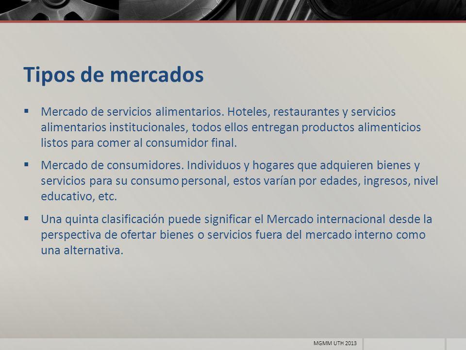 Tipos de mercados Mercado de servicios alimentarios. Hoteles, restaurantes y servicios alimentarios institucionales, todos ellos entregan productos al