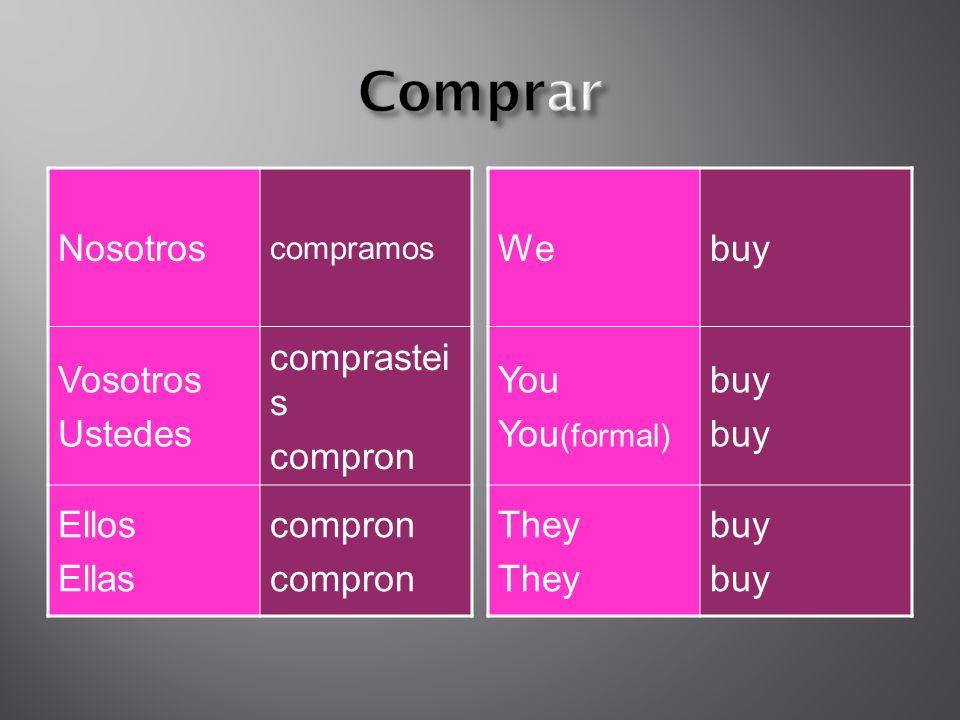 Nosotros compramos Vosotros Ustedes comprastei s compron Ellos Ellas compron Webuy You You (formal) buy They buy