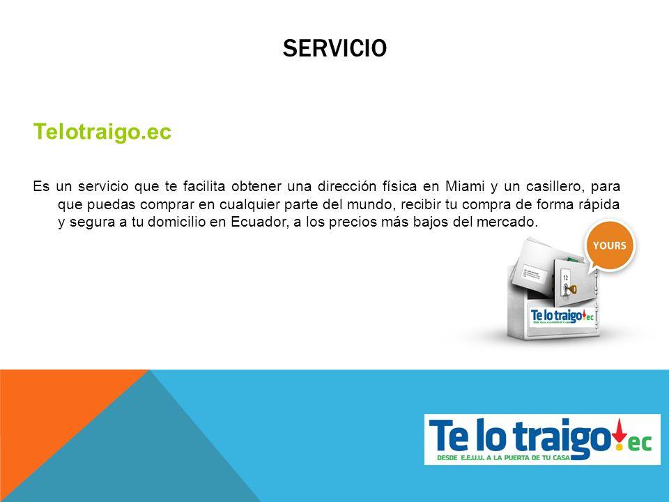 SERVICIO Telotraigo.ec Es un servicio que te facilita obtener una dirección física en Miami y un casillero, para que puedas comprar en cualquier parte