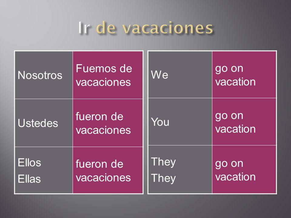 Nosotros Fuemos de vacaciones Ustedes fueron de vacaciones Ellos Ellas fueron de vacaciones We go on vacation You go on vacation They go on vacation