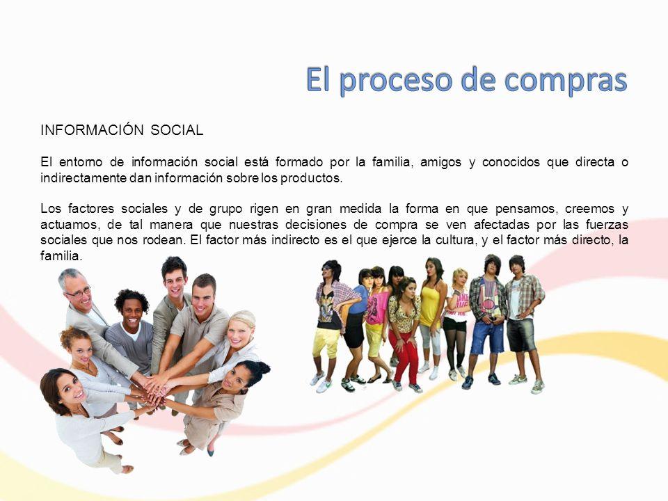 INFORMACIÓN SOCIAL El entorno de información social está formado por la familia, amigos y conocidos que directa o indirectamente dan información sobre los productos.