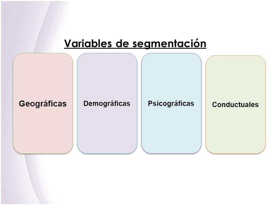 V ariables de segmentación Geográficas Demográficas Psicográficas Conductuales