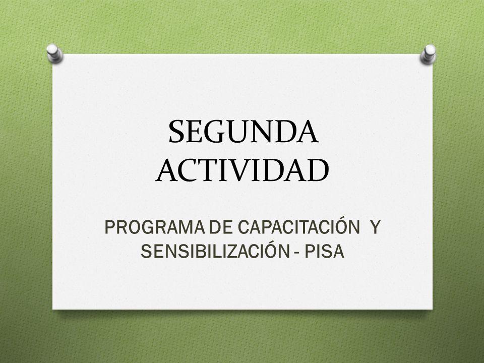 SEGUNDA ACTIVIDAD PROGRAMA DE CAPACITACIÓN Y SENSIBILIZACIÓN - PISA