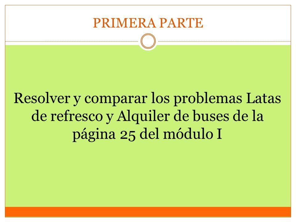 PRIMERA PARTE Resolver y comparar los problemas Latas de refresco y Alquiler de buses de la página 25 del módulo I