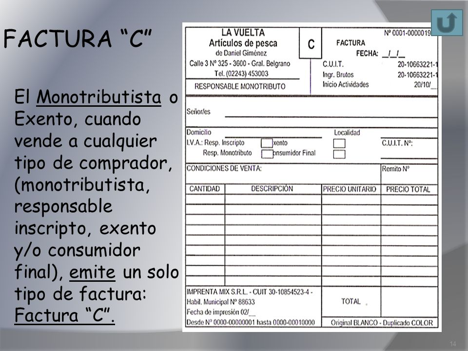 FACTURA C El Monotributista o Exento, cuando vende a cualquier tipo de comprador, (monotributista, responsable inscripto, exento y/o consumidor final)