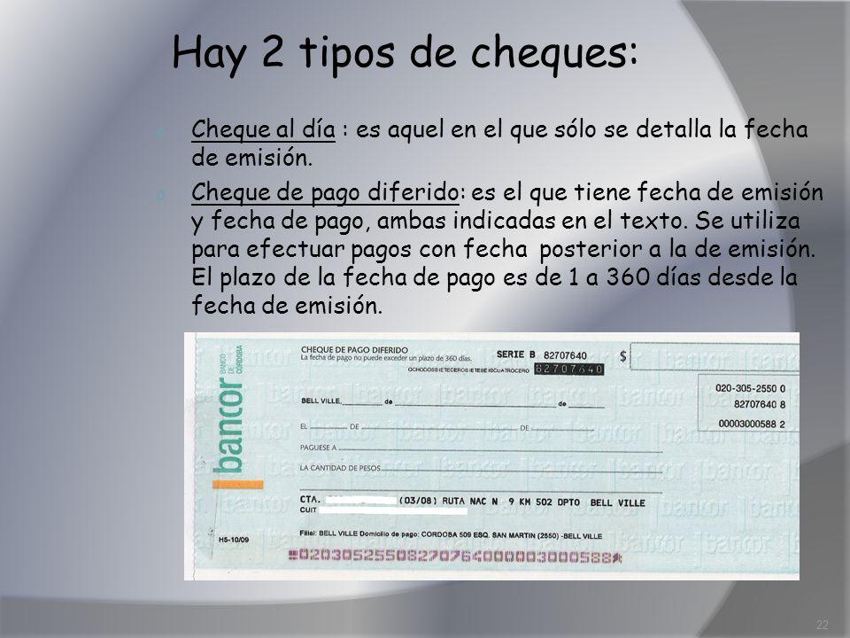 Hay 2 tipos de cheques: o Cheque al día : es aquel en el que sólo se detalla la fecha de emisión. o Cheque de pago diferido: es el que tiene fecha de
