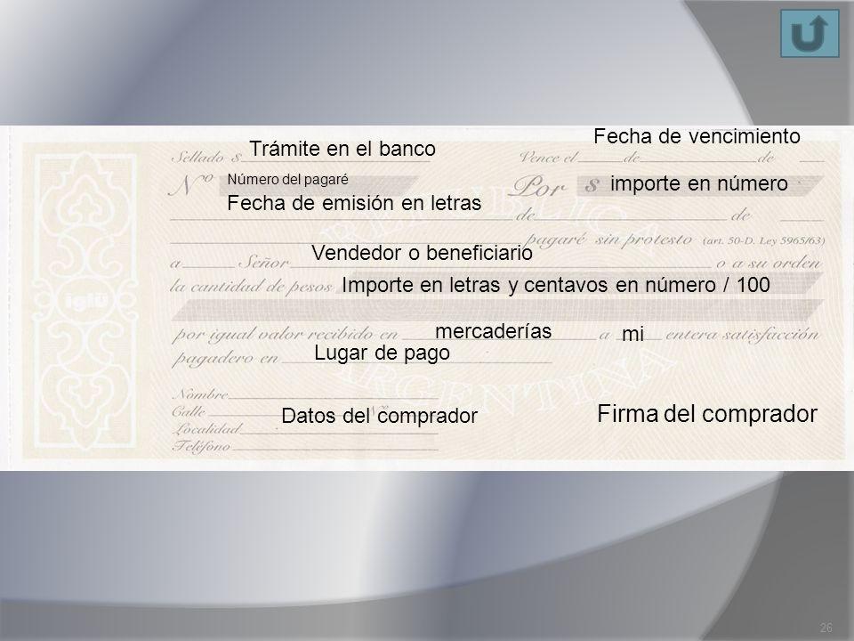 Firma del comprador Fecha de vencimiento importe en número Número del pagaré Fecha de emisión en letras Vendedor o beneficiario Importe en letras y ce
