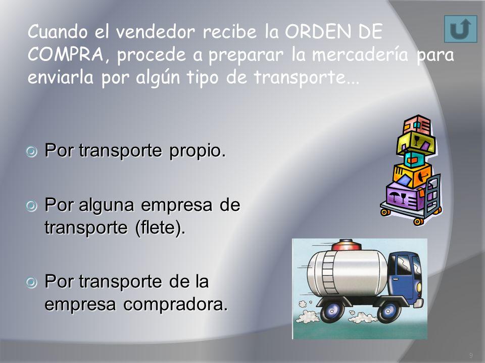 Cuando el vendedor recibe la ORDEN DE COMPRA, procede a preparar la mercadería para enviarla por algún tipo de transporte... Por transporte propio. Po