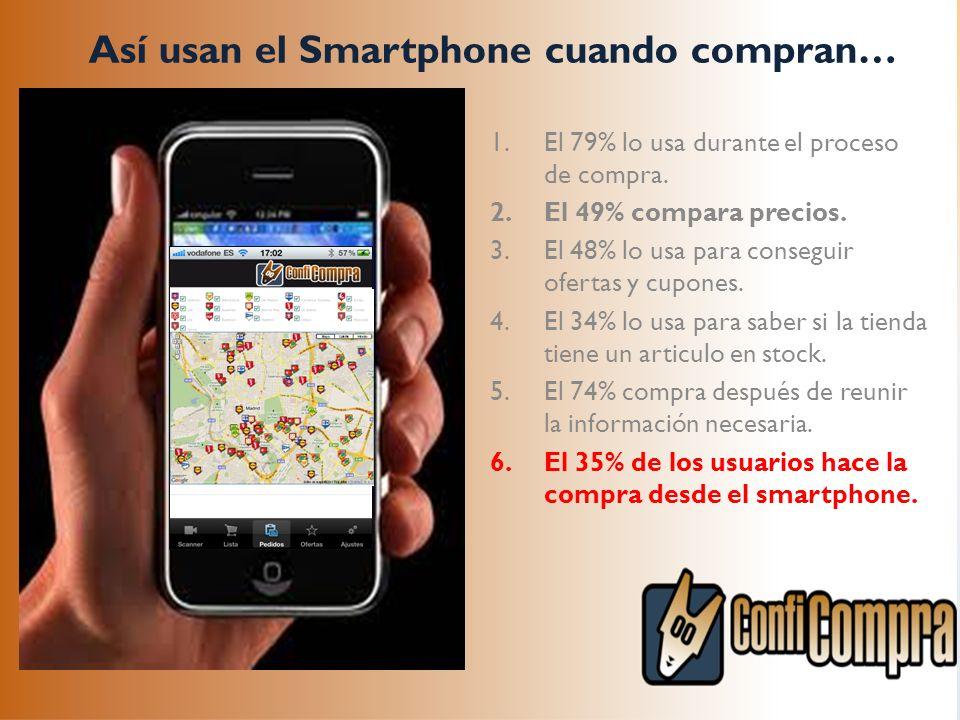 Así usan el Smartphone cuando compran… 1.El 79% lo usa durante el proceso de compra. 2.El 49% compara precios. 3.El 48% lo usa para conseguir ofertas