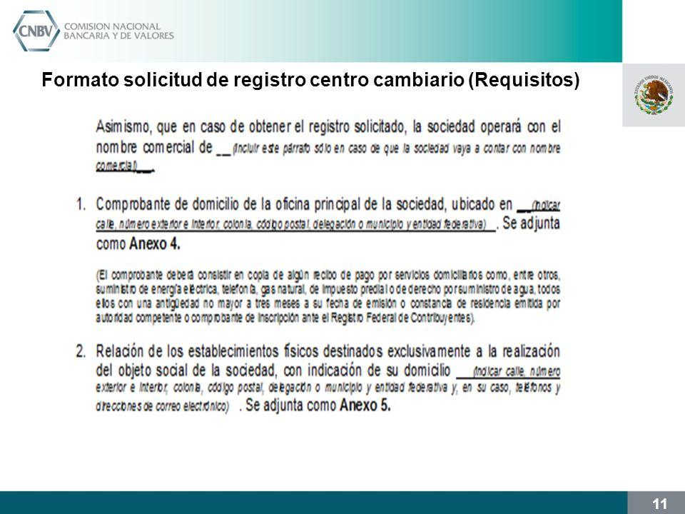 11 Formato solicitud de registro centro cambiario (Requisitos)