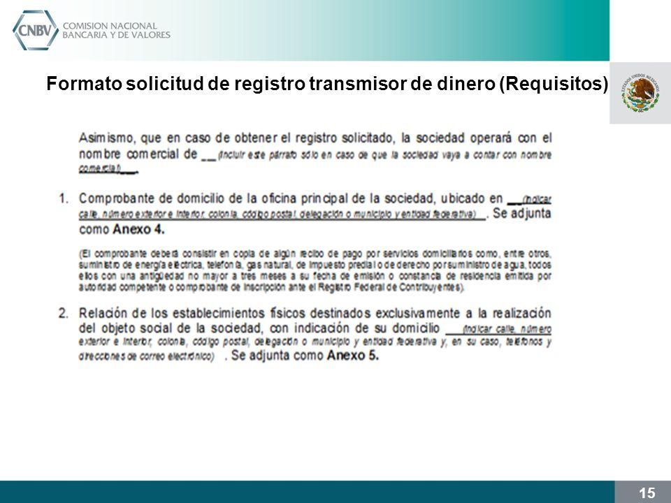 15 Formato solicitud de registro transmisor de dinero (Requisitos)