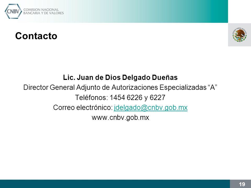 19 Contacto Lic. Juan de Dios Delgado Dueñas Director General Adjunto de Autorizaciones Especializadas A Teléfonos: 1454 6226 y 6227 Correo electrónic