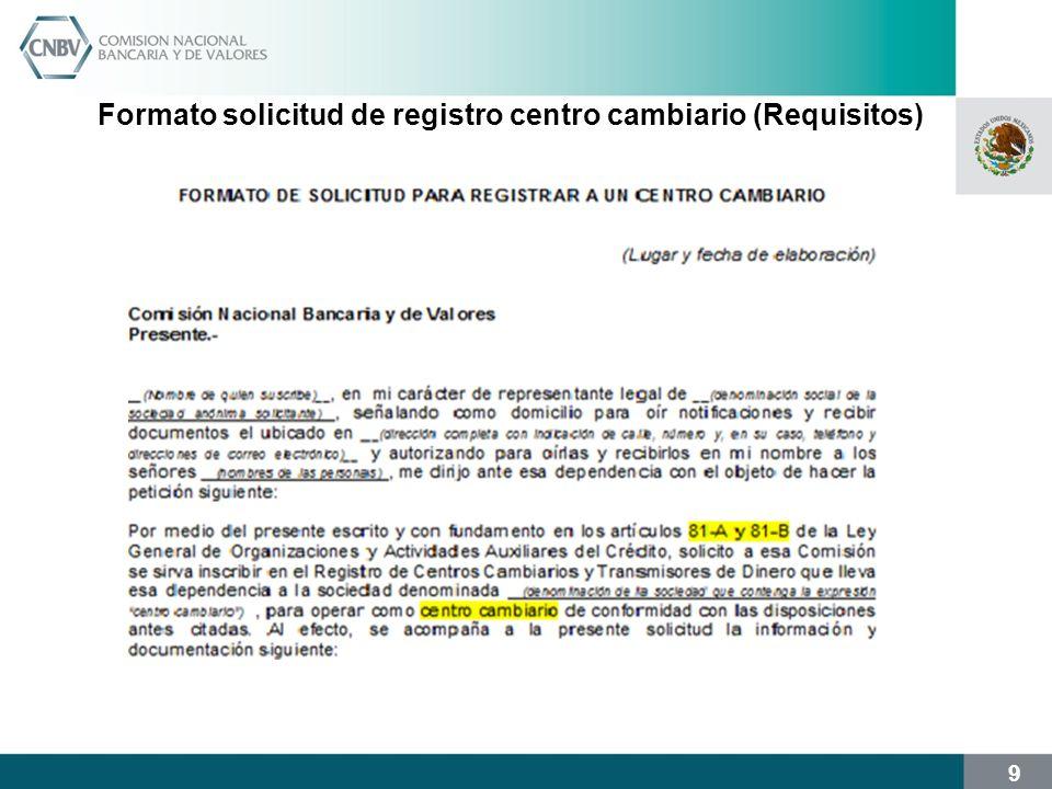 10 Formato solicitud de registro centro cambiario (Requisitos)