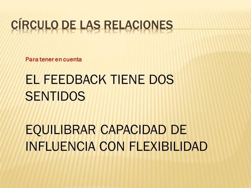 Para tener en cuenta EL FEEDBACK TIENE DOS SENTIDOS EQUILIBRAR CAPACIDAD DE INFLUENCIA CON FLEXIBILIDAD