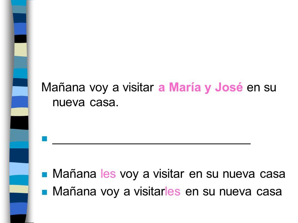 Mañana voy a visitar a María y José en su nueva casa.
