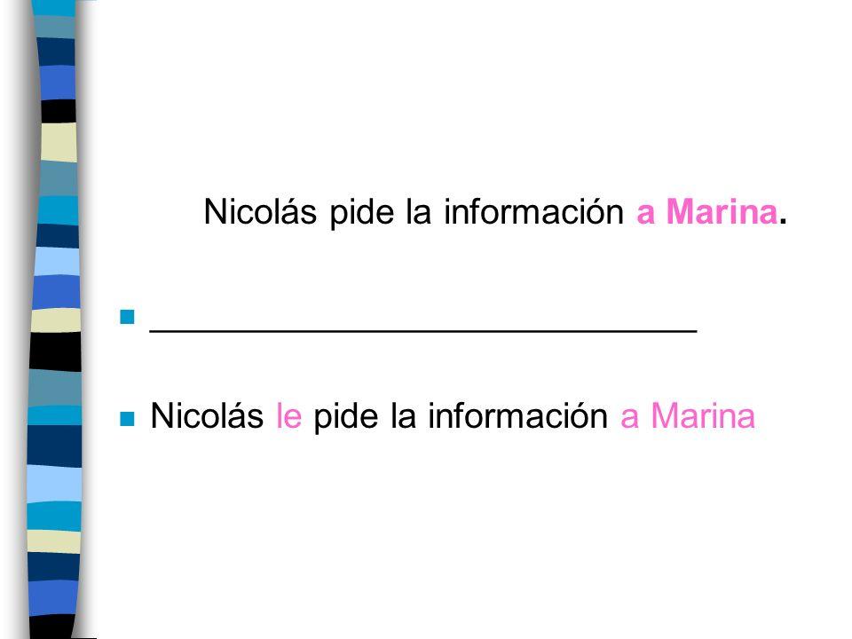 Nicolás pide la información a Marina.
