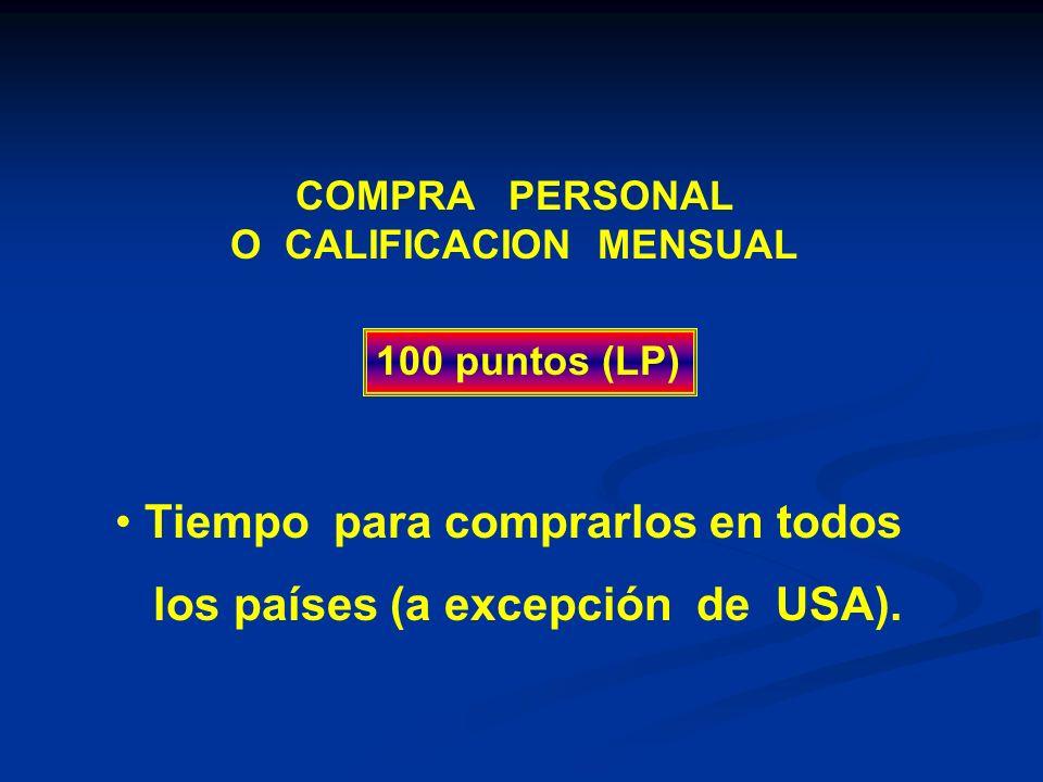 COMPRA PERSONAL O CALIFICACION MENSUAL 100 puntos (LP) Tiempo para comprarlos en todos los países (a excepción de USA).