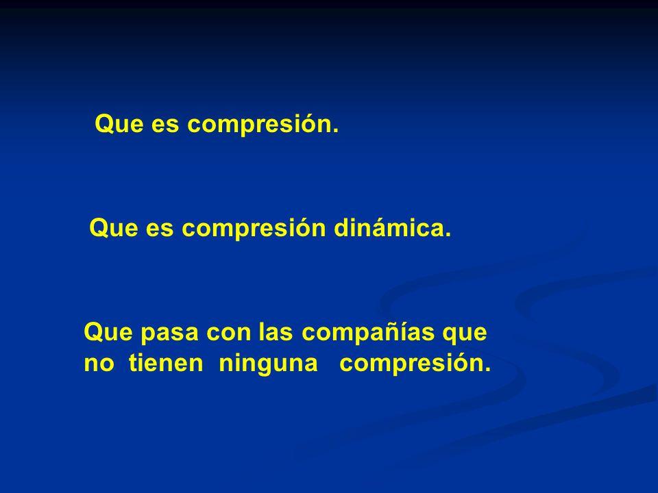 Que es compresión. Que es compresión dinámica. Que pasa con las compañías que no tienen ninguna compresión.