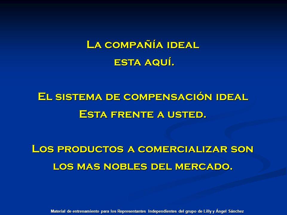 La compañía ideal esta aquí. esta aquí. El sistema de compensación ideal Esta frente a usted. Los productos a comercializar son los mas nobles del mer