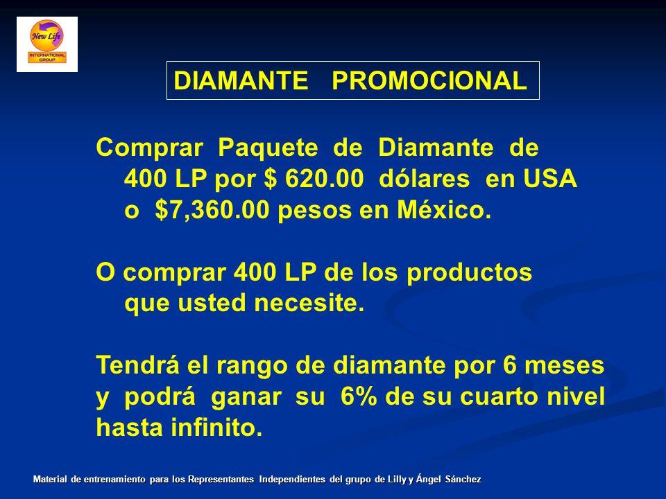 DIAMANTE PROMOCIONAL Material de entrenamiento para los Representantes Independientes del grupo de Lilly y Ángel Sánchez Comprar Paquete de Diamante d