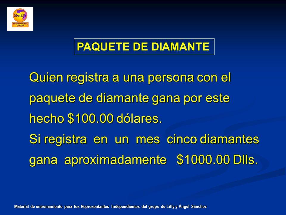 PAQUETE DE DIAMANTE Quien registra a una persona con el paquete de diamante gana por este hecho $100.00 dólares. Si registra en un mes cinco diamantes