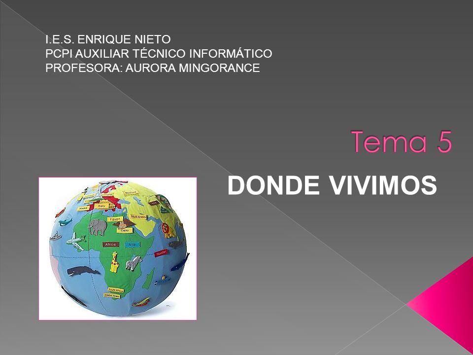 DONDE VIVIMOS I.E.S. ENRIQUE NIETO PCPI AUXILIAR TÉCNICO INFORMÁTICO PROFESORA: AURORA MINGORANCE