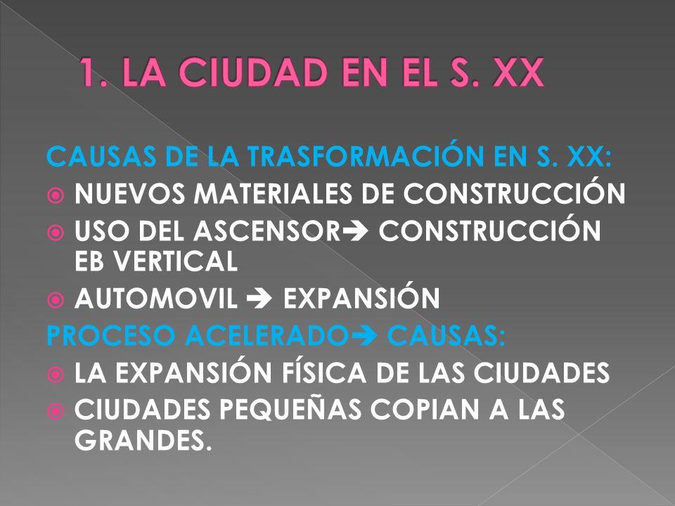 CAUSAS DE LA TRASFORMACIÓN EN S. XX: NUEVOS MATERIALES DE CONSTRUCCIÓN USO DEL ASCENSOR CONSTRUCCIÓN EB VERTICAL AUTOMOVIL EXPANSIÓN PROCESO ACELERADO