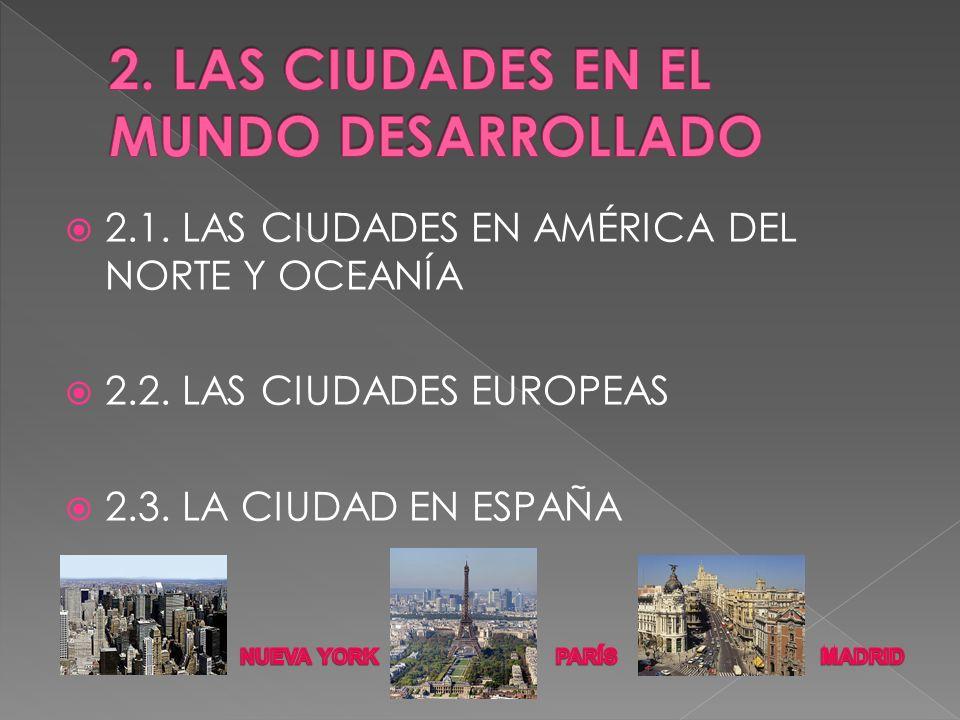 2.1. LAS CIUDADES EN AMÉRICA DEL NORTE Y OCEANÍA 2.2. LAS CIUDADES EUROPEAS 2.3. LA CIUDAD EN ESPAÑA