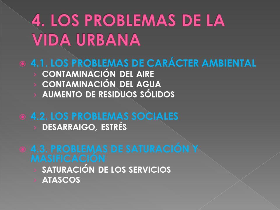 4.1. LOS PROBLEMAS DE CARÁCTER AMBIENTAL CONTAMINACIÓN DEL AIRE CONTAMINACIÓN DEL AGUA AUMENTO DE RESIDUOS SÓLIDOS 4.2. LOS PROBLEMAS SOCIALES DESARRA