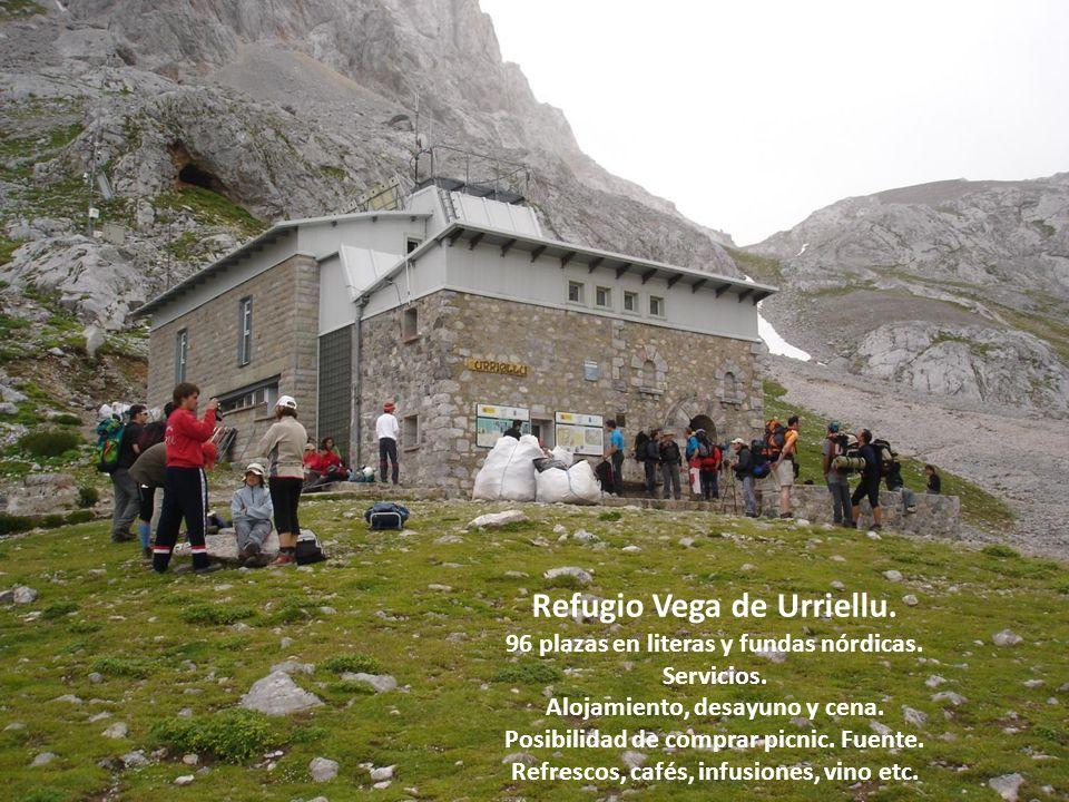 Refugio Vega de Urriellu. 96 plazas en literas y fundas nórdicas. Servicios. Alojamiento, desayuno y cena. Posibilidad de comprar picnic. Fuente. Refr