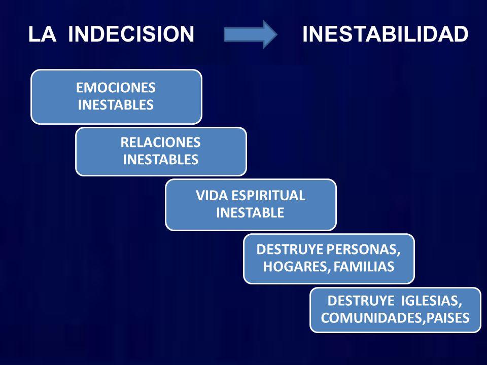 LA INDECISION INESTABILIDAD EMOCIONES INESTABLES RELACIONES INESTABLES VIDA ESPIRITUAL INESTABLE DESTRUYE PERSONAS, HOGARES, FAMILIAS DESTRUYE IGLESIA