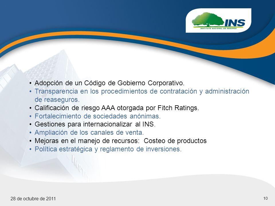 10 28 de octubre de 2011 Adopción de un Código de Gobierno Corporativo.