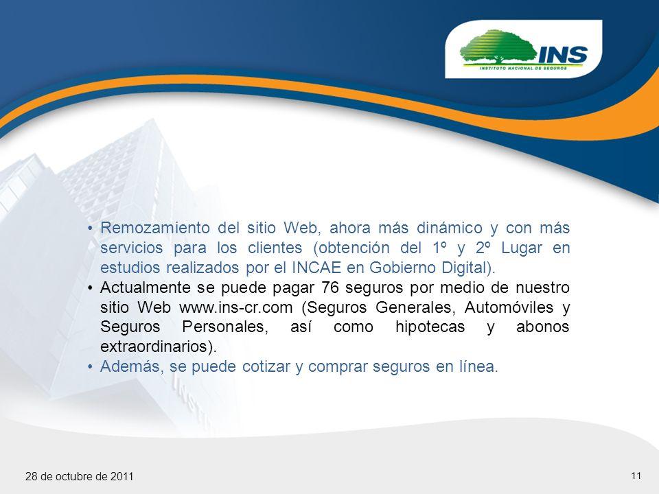 11 28 de octubre de 2011 Remozamiento del sitio Web, ahora más dinámico y con más servicios para los clientes (obtención del 1º y 2º Lugar en estudios realizados por el INCAE en Gobierno Digital).