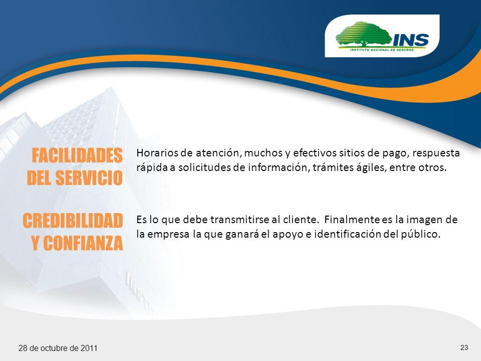 23 28 de octubre de 2011 FACILIDADES DEL SERVICIO Horarios de atención, muchos y efectivos sitios de pago, respuesta rápida a solicitudes de información, trámites ágiles, entre otros.