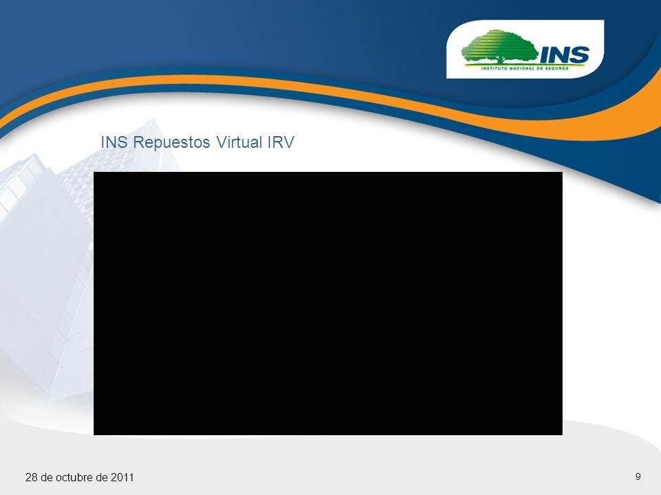 9 28 de octubre de 2011 INS Repuestos Virtual IRV